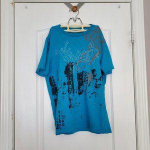 METERSBONWE Blue Graphic Men's T-Shirt